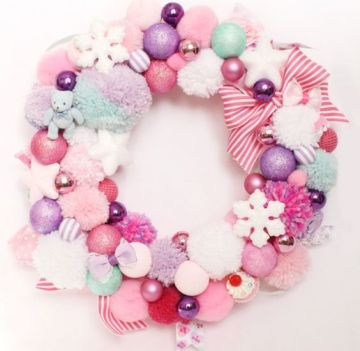 2-202-a-sweet-pastel-christmas-wreath-of-pompoms-ornaments-bows-and-snowflakes-of-soft-shades