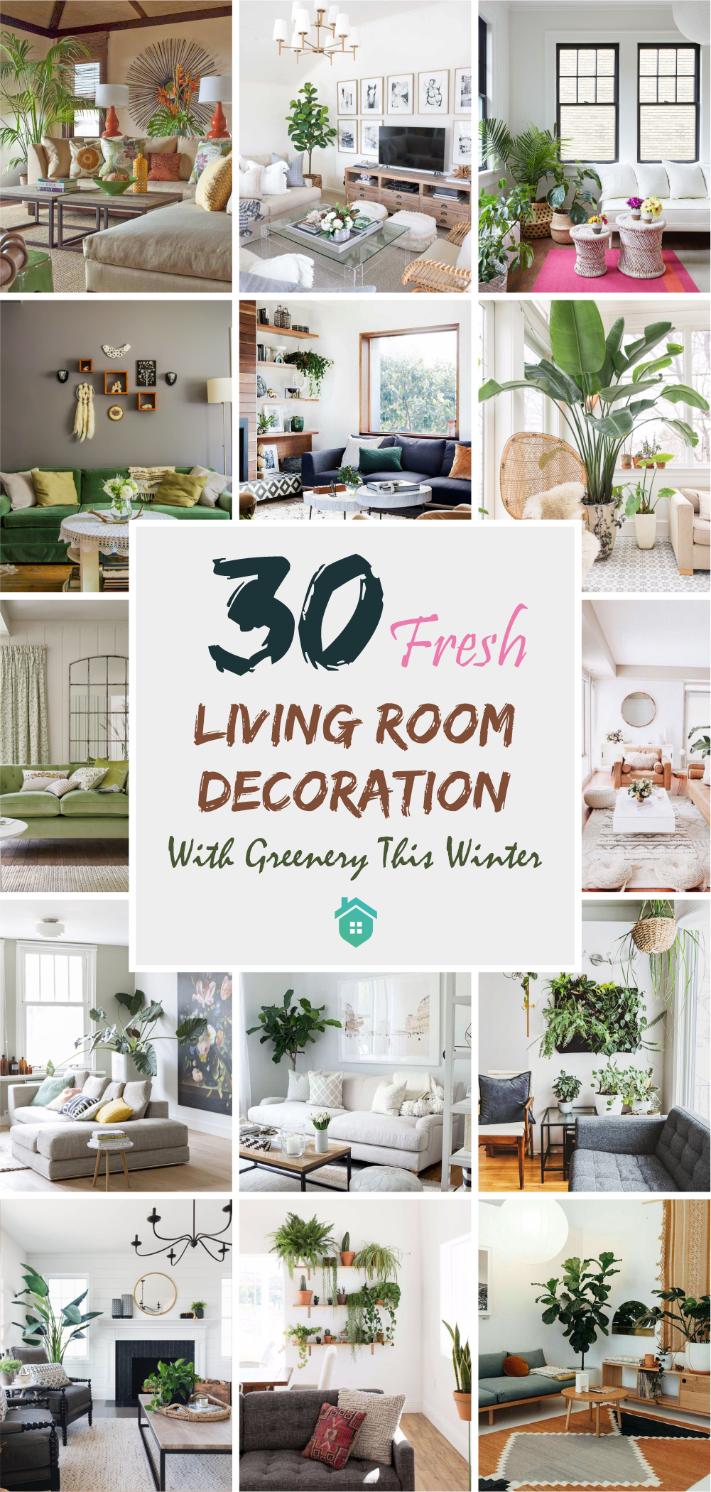 30 fresh living room decoration with greenery this winter5