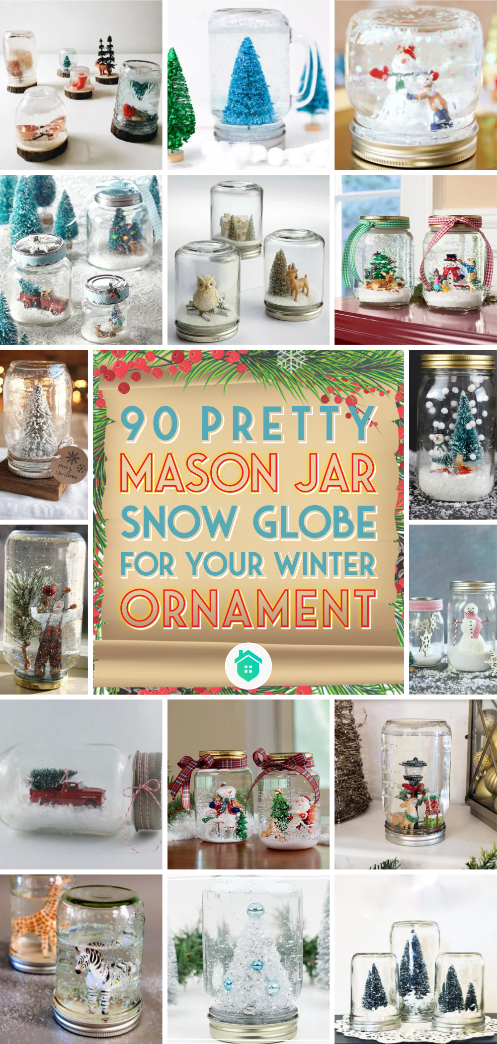 90 pretty mason jar snow globe for your winter ornament1