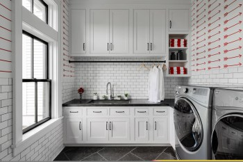 Modern-farmhouse-style-laundry-in-white-and-red