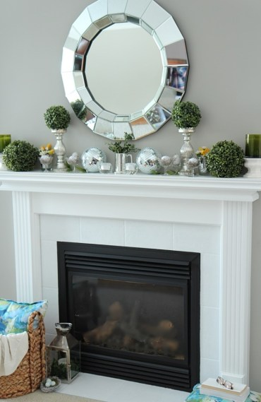 Shimmery-spring-mantle-decor