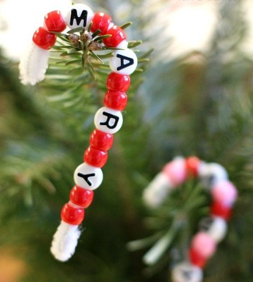 Candy cane name ornament
