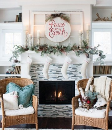 Christmas-decor-fireplace-mantel-ideas-white-stockings-garland-candles