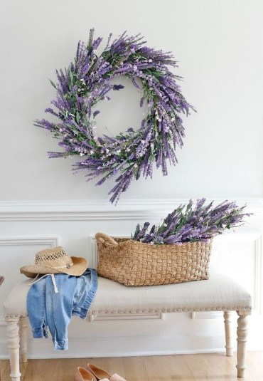 13-a-faux-lavender-wreath-and-some-lavender-in-a-basket-for-a-cute-romantic-entryway-3