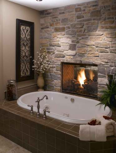 Elegant modern stone bathroom bathtub fireplace design ideas
