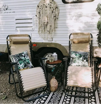 Put your weather-resistant throw pillows Good-Looking Campsite And Patio Decorating Ideas For All Types Of RVers
