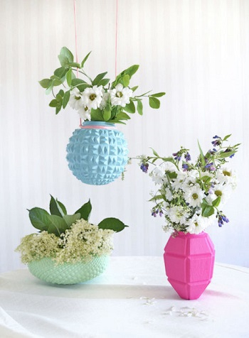 Upcycled lampshade vases Delightful Spring Centerpiece Ideas To Welcome The Season This Year