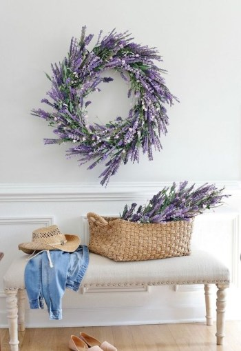With a faux lavender wreath