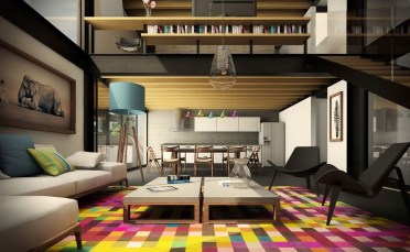 Colourful-rug-geometric-disco-living-room