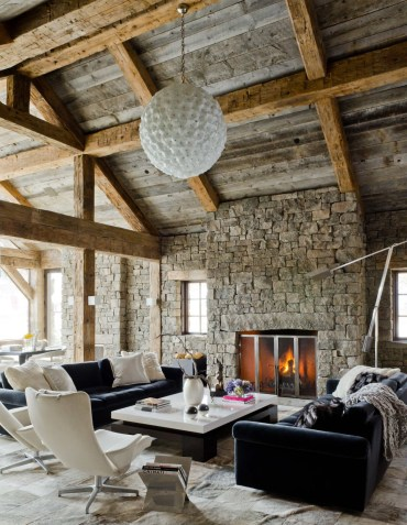 Dimpled-chandelier-stone-fireplace-rustic-living-room-set