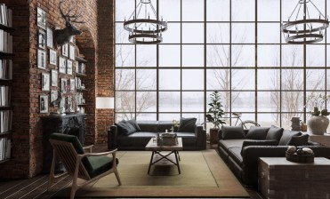 Japanese-loft-windows-stag-head-rustic-glam-living-room-1