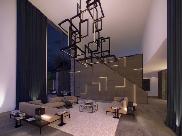 Tessellated-chandelier-fluffy-rug-modern-living-room