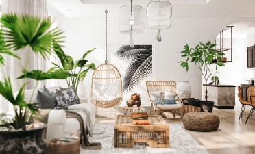 Wicker-swing-chair-fluffy-rug-rustic-living-room-tables