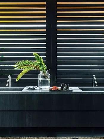 Bathroom with black cabinet
