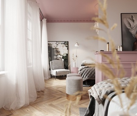 Beautiful bedroom with pink ceiling that gives a romantic atmosphere 2