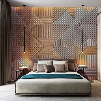 Bedroom with geometric patterns