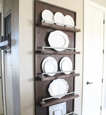 Industrial pipe plate rack Uncomplicated Plate Racks Ideas To Stack Your Plates