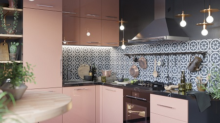 Pretty pink kitchen decor that timeless and chic with patterned tile backdrop 3
