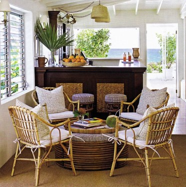 Sunroom-furnishing-ideas-using-bamboo-armchairs-and-rounded-bamboo-tables