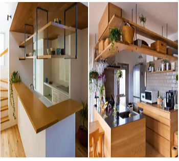 Suspended shelving Earth-Toned Minimalist Kitchen Ideas With Simplicity And Harmony