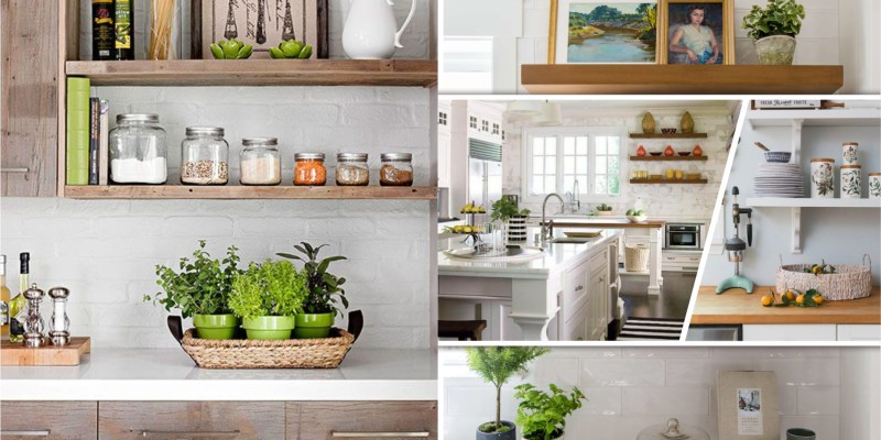 Utilitarian contemporary kitchen floating shelves ideas for best additional storage 2
