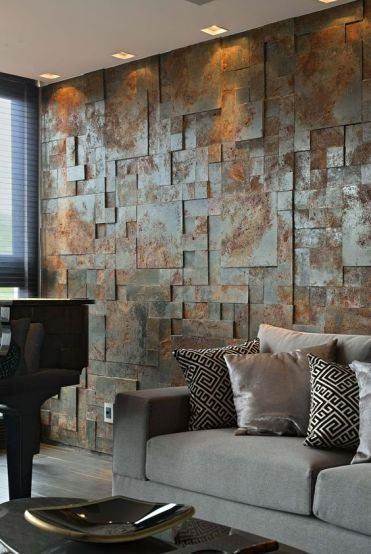 An-aged-metal-accent-wall-brings-industrial-esthetics-to-the-living-room