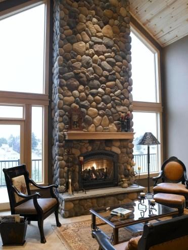 Diy-river-rock-fireplace