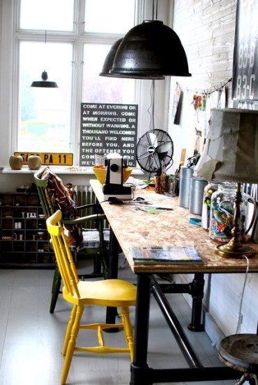 Goergeous-industrial-home-office-design-with-mixed-chairs