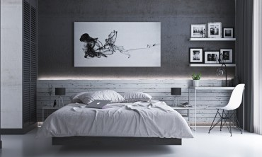 Gray-bedroom-furniture-sets-abstract-art-piece-1