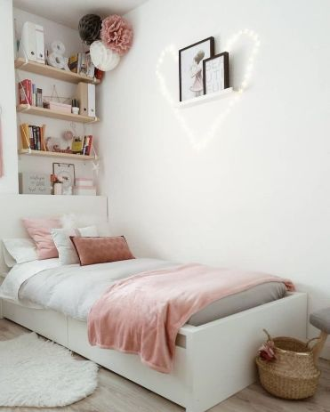 Shelves-on-the-wall-above-the-bed-cute-room-ideas-white-walls-fairy-lights-in-the-shape-of-a-heart-wooden-floor