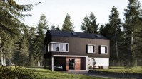 Wood-and-plaster-in-forest-exterior-home-design-ideas