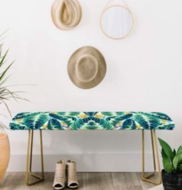 2-05-a-tropical-leaf-printed-bench-with-brass-legs-is-an-ultimate-idea-for-a-boho-chic-entryway