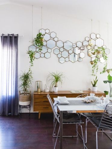 2-10-a-hex-framed-mirror-arrangement-is-a-cool-and-eye-catchy-decoration-for-this-space