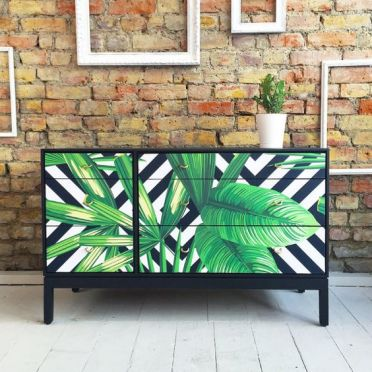29-upcycled-vintage-retro-chest-of-drawers-with-tropical-palms-decoupage