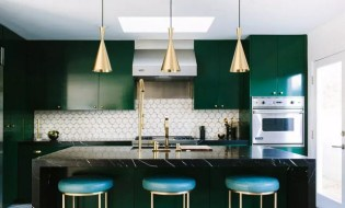 Awesome green and gold kitchen