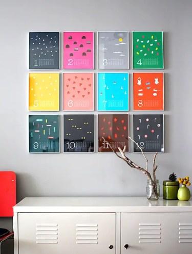 Calendario da parete colorato come arte da parete
