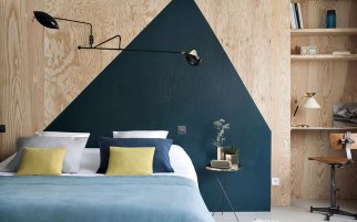 Headboard with bold geometric pattern