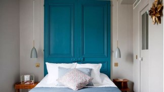 Headboard with painted doors
