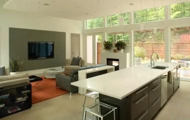 Kitchen with glass windows