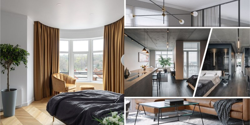 Minimalist apartment with a window overlooking the city 2