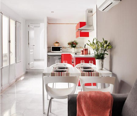 Small apartment interior design with interesting game of colors 2