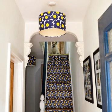 Marimekko-stair-and-lampshade-upcycle