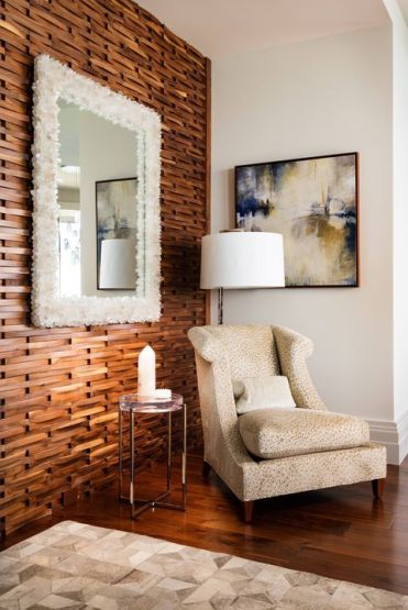 A-stained-wood-slab-accent-wall-will-add-coziness-and-chic-and-a-matching-floor-highlights-it-even-more