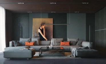Orange-cushions-grey-curtains-dark-living-room