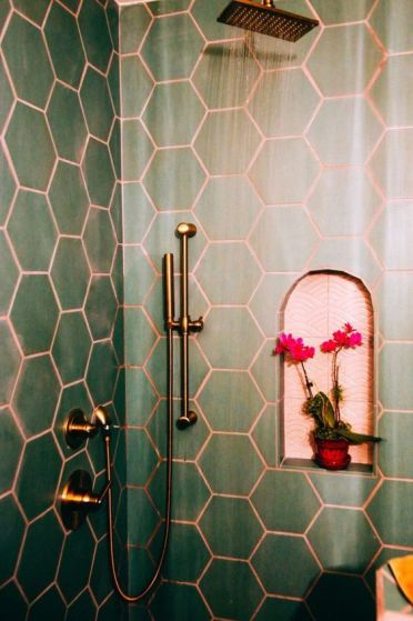 2-26-green-hex-tiles-paired-with-copper-grout-and-copper-fixtures-are-a-chic-and-bold-idea-wiht-a-refined-touch