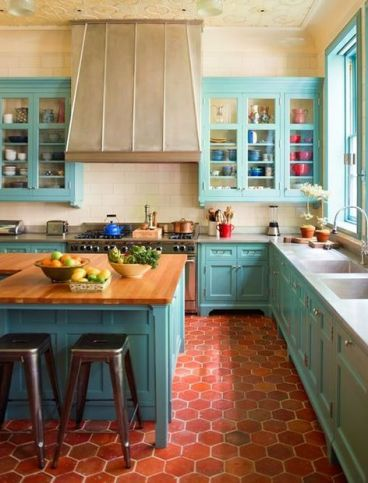 3-35-red-hex-tile-floors-contrast-with-turquoise-cabinets