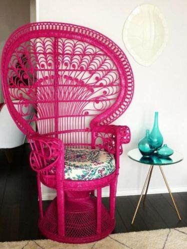 4-16-a-hot-pink-peacock-chair-with-a-floral-print-cushion-will-not-only-add-color-but-also-a-boho-feel-to-the-space