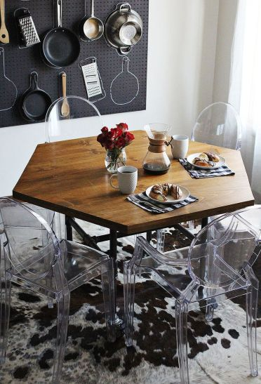 Diy-hexagon-dining-table-with-industrial-style-legs