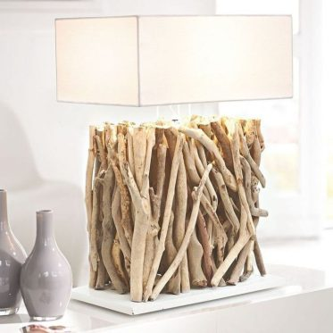 1-a-table-lamp-with-a-driftwood-base-and-an-elegant-square-lampshade-is-a-very-contrasting-and-cool-combo