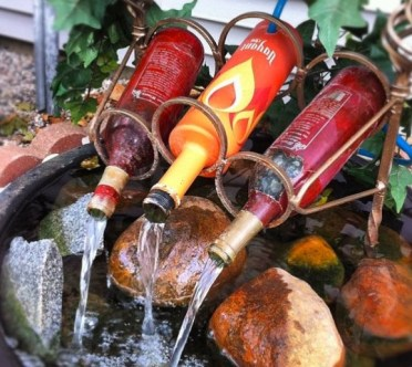 Water-fountain-wine-bottles